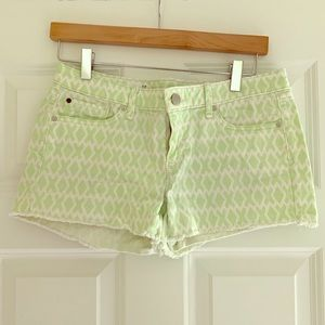 Bright Green Patterned Denim Shorts
